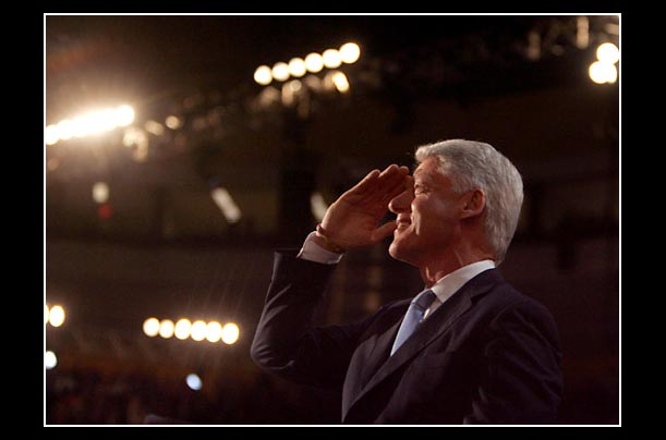 Former President Bill Clinton gives a speech during the 2004 Democratic National Convention