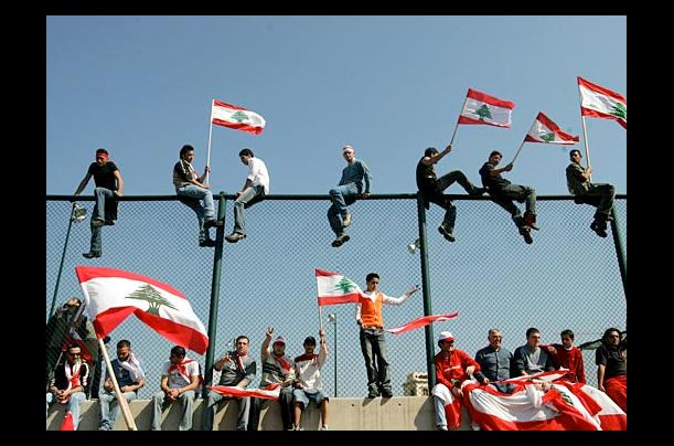 lebanese opposition protesters in beirut's martyrs square call for a withdrawal of syrian personnel from lebanon