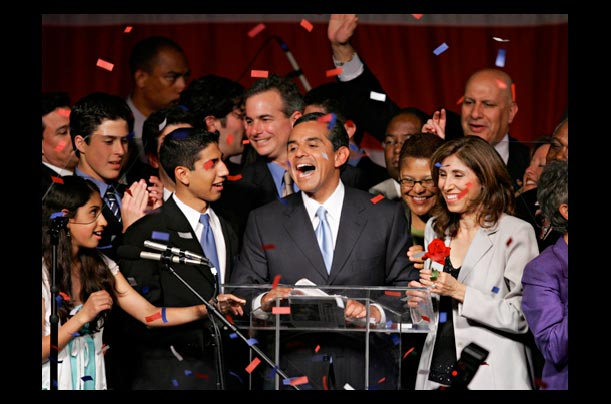LA Councilman Antonio Villaraigosa defeated Mayor James Hahn to become the city's first Hispanic mayor in more than a century