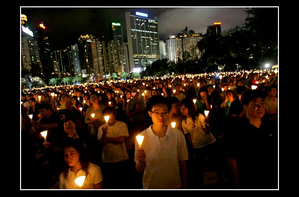 Protesters in Causeway Bay, Hong Kong at a candlelit vigil for the activists killed on june 4, 1989 in Tiananmen Square