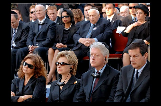 Bill Clinton, U.S. Senator Hillary Rodham Clinton, former Secretary of State James Baker, Condoleezza Rice and Ariel Sharon pay respect for late Israeli Prime Minister Yitzhak Rabin
