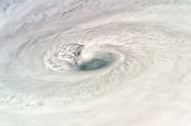 Photographed from the Space Shuttle Endeavour(ital), Hurricane Dean swirls near Jamaica carrying sustained winds of 150 mph.
