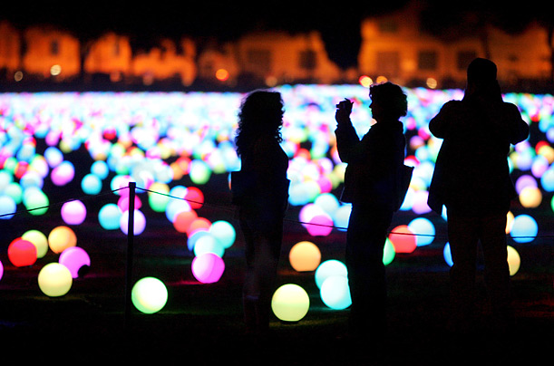 Some 20,000 luminous spheres are scattered about the ancient Circo Massimo arena in Rome on the eve of the White Night festival.