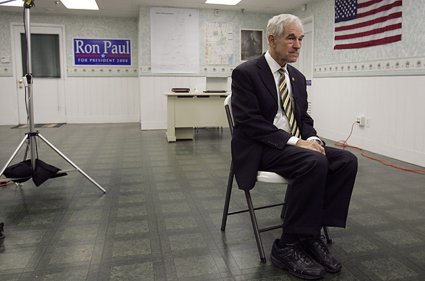 Republican presidential hopeful, Representative Ron Paul takes a short rest from campaigning at his headquarter in Concord, New Hampshire.