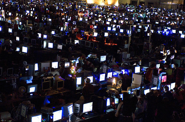 Gamers play against each other at the Dreamhack Winter 2007 LAN party in Jonkoping, Sweden.
