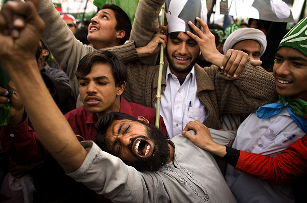 A supporter shouts anti-Musharraf slogans during a rally of the Pakistan's All Parties Democratic Movement in Lahore.