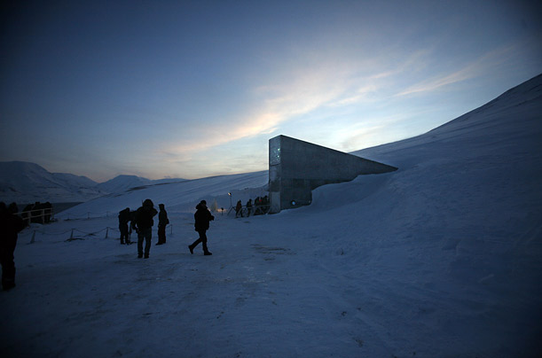 The Svalbard Global Seed Vault is inaugurated at sunrise. Locataed deep within an Arctic mountain in the remote Norwegian archipelago of Svalbard, the