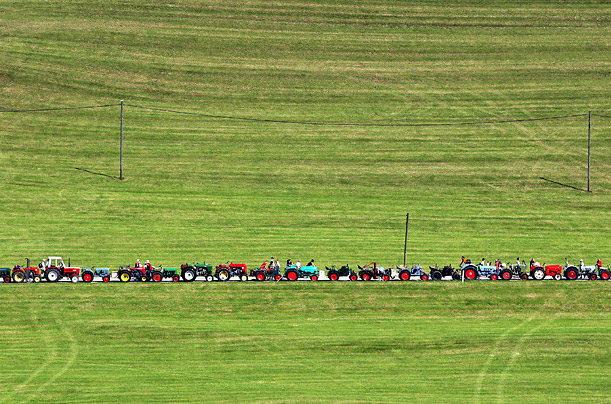 A total of 1,048 tractors line up on a road between Stiefenhofen and Balzhofen, Germany, in an attempt to break the world record for the longest line of tractors.