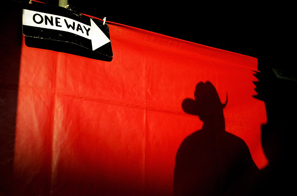 A shadow falls on the entrance to the giant steer exhibit at the Orange County Fair in Costa Mesa, California.