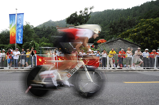 Fabian Cancellara of Switzerland races to victory in the Olympic men's road cycling individual time trial.
