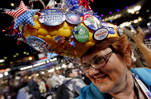Nany Bobo, a delegate from Des Moines, Iowa, smiles beneath her corn hat during the Democratic National Convention.