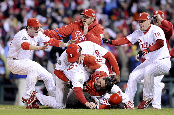 The Philadelphia Philles celebrate their championship win over the Tampa Bay Rays in Game 5 of the World Series.