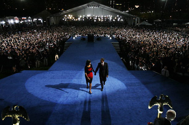 Barack and Michelle Obama leave the stage in Chicago's Grant Park after Obama was declared the winner of the 2008 presidential election.