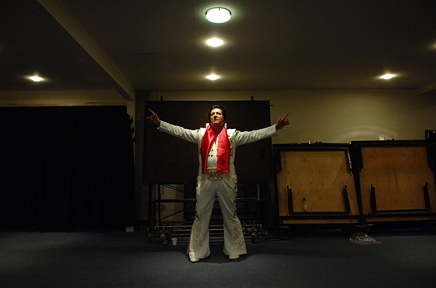 Gentleman Jim waits to perform at the European Elvis Competition in Blackpool, England.