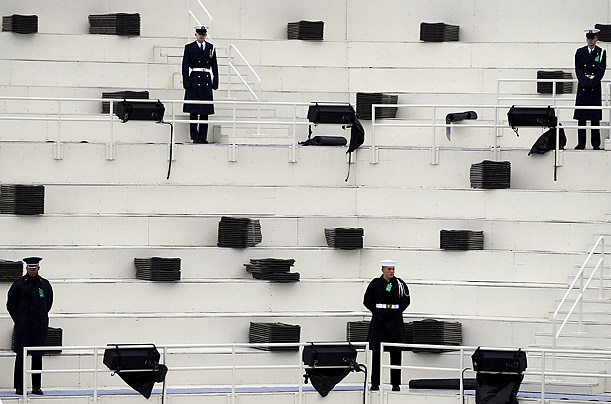Members of the military serve as stand-ins in the grandstand during a rehearsal for President-Elect Barack Obama's oath of office, scheduled for January 20 in Washington.
