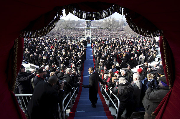 U.S. President Barack Obama steps out onto the inauguration stand on the West Front of the Capitol in Washington D.C.