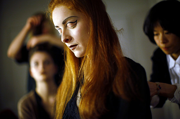 A model has her hair done before the Costello Tagliapietra Fall 2009 collection during New York Fashion Week.