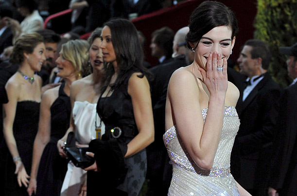 Anne Hathaway arrives for the 81st Annual Academy Awards at the Kodak Theatre in Hollywood, California.
