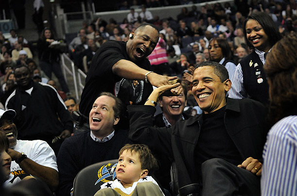 President Obama attends a game between the Washington Wizards and the Chicago Bulls at the Verizon Center in Washington DC.