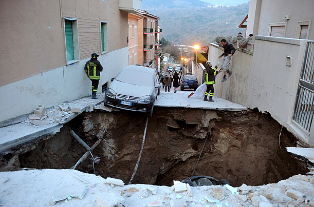 A street is damaged after Italy's worst earthquake in recent history in L'Aquila, Italy. Over 280 people died in the quake