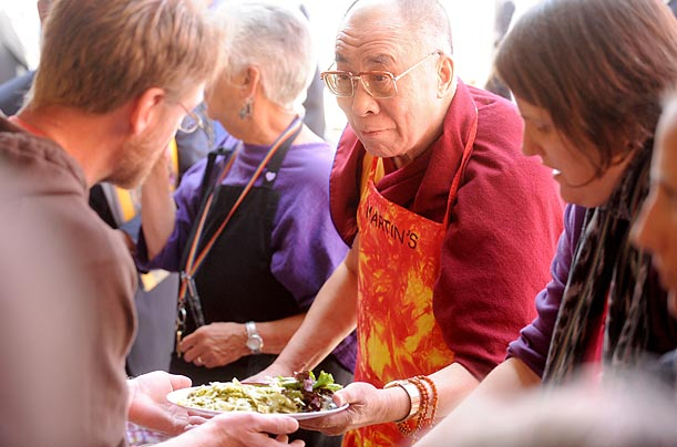 Appearing at a San Francisco soup kitchen, the Dalai Lama spoke of his position as Tibet's exiled spiritual leader, saying