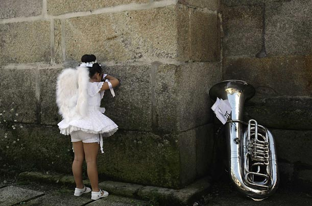 A four-year-old girl plays during the