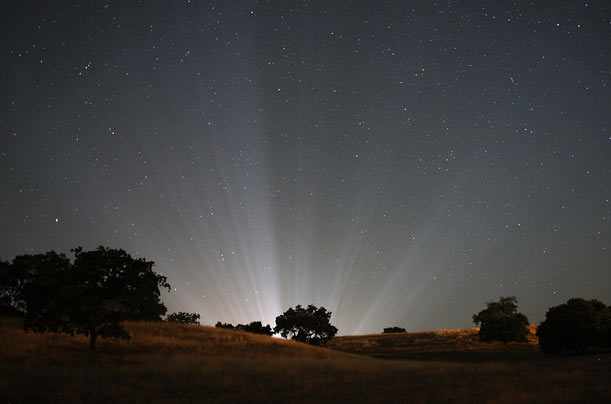 Rays of light from inside Michael Jackson's Neverland Ranch pierce the sky.