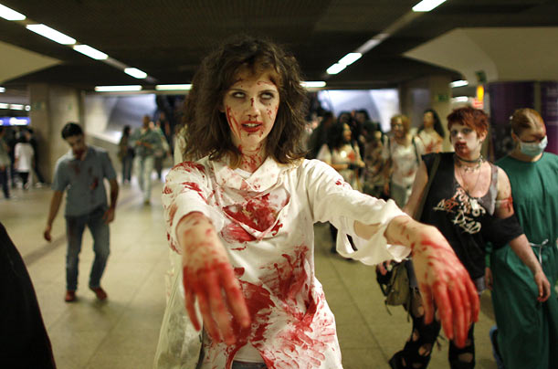 A zombie parade passes through Frankfurt, Germany. This is the third year the German city has been visited by a plague of the monsters.