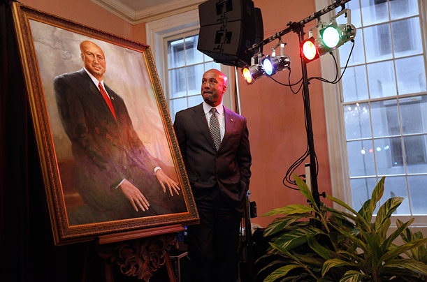 Mayor Ray Nagin stands next to his official portrait in New Orleans.