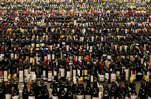 Wine bottles await tasting during the 27th International Wine Challenge in London, England.