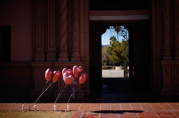 Balloons are anchored at a  prayer vigil for victims in response to Saturday's shooting in Tucson, Arizona.