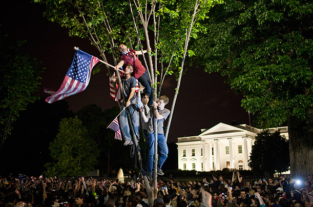 People gather in front of the White House to celebrate the death of Osama bin Laden after President Barack Obama announced the al Qaeda leader had been killed in a raid by US forces.